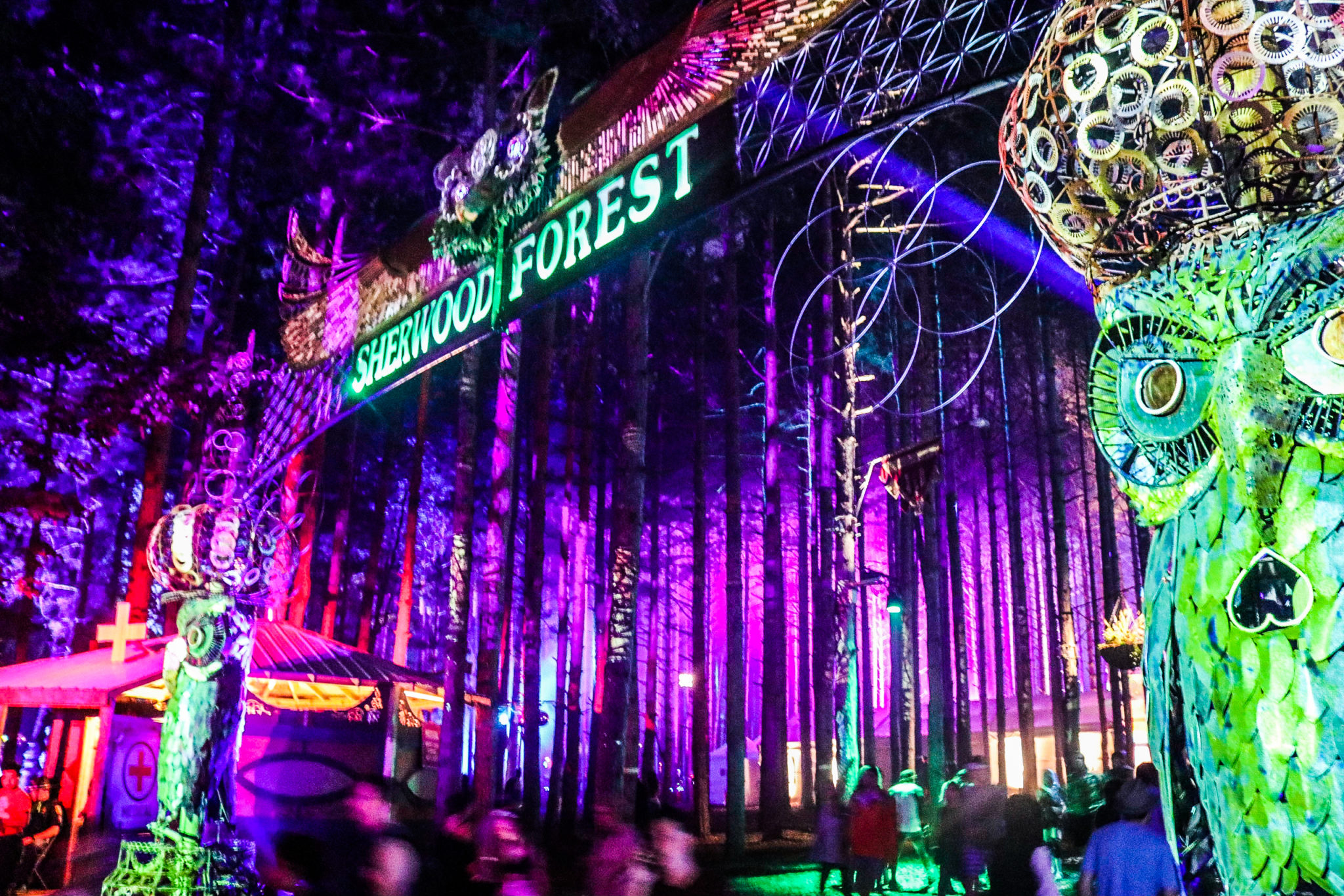 Night time photo of the gates into Electric Forest